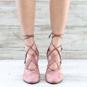 Blush Lace Up Heel